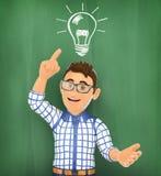 τρισδιάστατος νέος σπουδαστής με ένα φως βολβών σε μια κιμωλία τρισδιάστατη εικόνα ιδέας έννοιας που δίνεται Στοκ Εικόνες