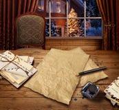 圣诞节给圣诞老人的愿望信件 免版税库存图片