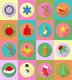 Иллюстрация вектора значков рождества и Нового Года плоская Стоковое Изображение RF