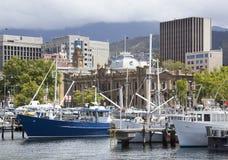 霍巴特市小游艇船坞 免版税图库摄影
