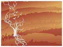 树有鸟背景 免版税库存照片