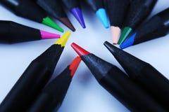 色的宏观铅笔 库存图片