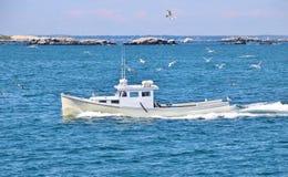 Άσπρη βάρκα που πλέει στον ωκεανό Στοκ εικόνα με δικαίωμα ελεύθερης χρήσης
