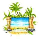 与纸剧本和热带海岛的旅行横幅 图库摄影