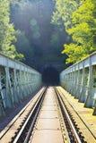 有隧道的铁路桥 免版税库存照片