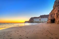在大西洋的日落大加那利岛海岛的 库存图片