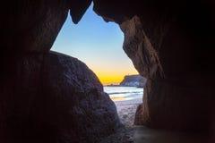 在大西洋的日落大加那利岛海岛的 库存照片