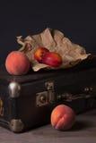 与包裹和桃子的静物画 免版税库存照片