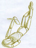 Деревянный манекен в представлении читателя - эскизе Стоковые Фотографии RF