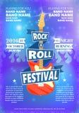 摇滚乐节日葡萄酒海报  热的灼烧的岩石党 动画片海报的,飞行物,象征,商标设计元素 图库摄影