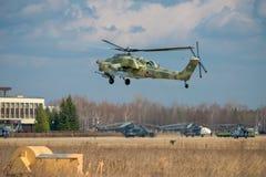 直升机的着陆 库存图片