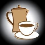 咖啡罐显示饮料酿造的和脱咖啡因咖啡 免版税库存图片
