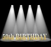 第五十个生日意味光柱和斑点 免版税图库摄影