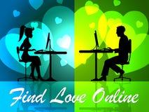 发现爱网上手段网站和爱 库存照片