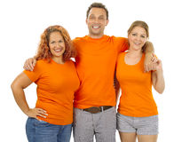 穿橙色空白的衬衣的人们 免版税图库摄影