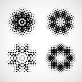Снежинка полутонового изображения Абстрактный черно-белый элемент дизайна Стоковое Изображение RF