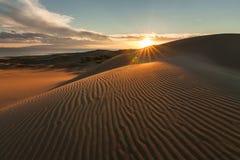与金黄日落的美丽如画的沙漠风景 库存图片