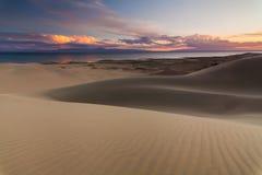 在沙漠湖的背景的沙丘 免版税库存图片
