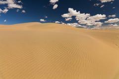 在蓝天背景的美丽如画的沙漠风景  免版税库存照片