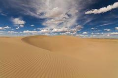 在蓝天背景的美丽如画的沙漠风景  免版税库存图片