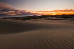 在沙漠湖的背景的沙丘 免版税图库摄影