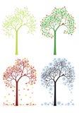 秋天,冬天,春天,夏天树,传染媒介集合 库存图片