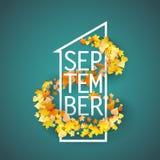 Первое -го сентябрь с предпосылкой листьев осени Стоковая Фотография RF