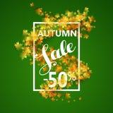 与黄色槭树叶子的秋天销售 库存照片