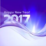 与蓝色波浪的新年快乐背景 库存图片