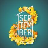 Первое -го сентябрь с предпосылкой листьев осени Стоковые Изображения RF
