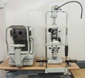 Κινηματογράφηση σε πρώτο πλάνο του ιατρικού εξοπλισμού σε μια κλινική οπτικών Στοκ εικόνα με δικαίωμα ελεύθερης χρήσης