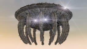 飞碟 未来派太空飞船 免版税图库摄影