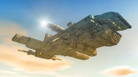 飞碟 未来派太空飞船 图库摄影