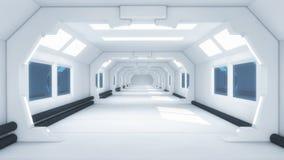 Футуристический космический корабль чужеземца залы Стоковые Изображения