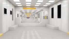 Футуристический космический корабль чужеземца залы Стоковое Изображение