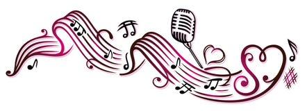 Σημειώσεις μουσικής, μικρόφωνο Στοκ Εικόνες