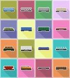 Установите поезда экипажа значков иллюстрацию вектора значков железнодорожного плоскую Стоковые Изображения