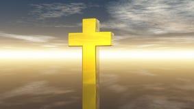 Христианский крест под облачным небом Стоковая Фотография