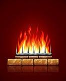 火灼烧的火焰在砖石壁炉传染媒介的 库存照片