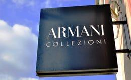 阿玛尼商店商标 库存图片