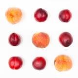 在正方形和桃子安排的几个油桃 库存照片