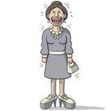 与滑稽的微笑的一个女性角色 免版税库存照片