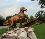 Статуя поиска и собаки спасения Стоковая Фотография RF