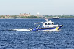 纽约警察局小船 库存图片