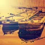 驳船 艺术性的神色,将抽象看法夹在中间 免版税图库摄影