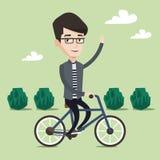 Иллюстрация вектора велосипеда катания человека Стоковые Изображения