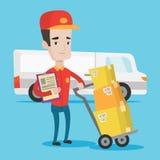 Работник доставляющий покупки на дом с картонными коробками Стоковое Изображение RF