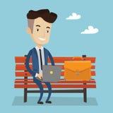Бизнесмен работая на компьтер-книжке напольной Стоковое фото RF