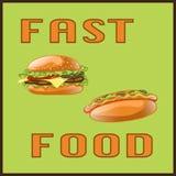 Фаст-фуд установил для карточки меню, плаката, брошюры, сети, передвижного применения Стоковое Изображение