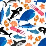 Обои картины шаржа рыб безшовные Стоковые Изображения RF